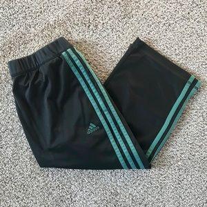 Adidas Capri Jogging Pants Gray w/ Teal Stripes
